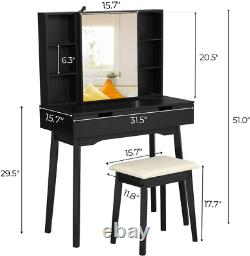 2 Large Drawers Vanity Table Set with Mirror & Bench with Lockable Jewelry Armoire
