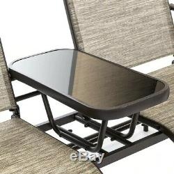 2 Person Outdoor Patio Glider Chair & Table Set Backyard Porch Lounger Seating