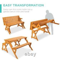 2 in 1 Patio Wood Picnic Dining Seat Bench Set Table Outdoor Eating Yard Garden