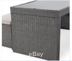 3 PC Outdoor Wicker Patio Dining Set Furniture 2 Benches Table Gray Glass Top