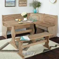 3 PC Rustic Wooden Breakfast Nook Corner Dining Set Booth Bench Kitchen Table