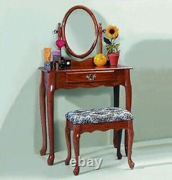 3 PC Traditional Vanity Makeup Table with Adjustable Mirror & Stool Set OAK