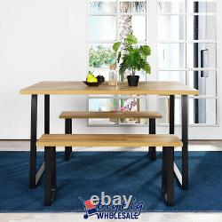 3 PC Wood Kitchen Room Dining Breakfast Table Set Home Furniture Benches Chairs