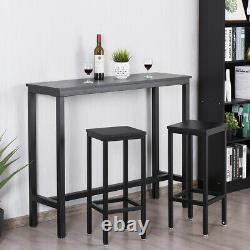 3 PCS Bar Table Set Counter Height Breakfast Bar Dining Table with2 Stools Black