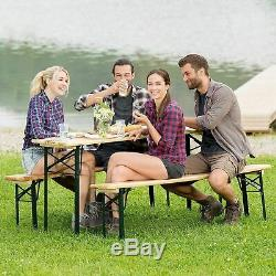 3 PCS Beer Table Bench Set Folding Wooden Top Picnic Table Patio Garden New