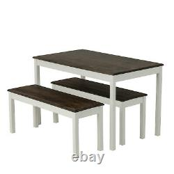 3 PCS Dining Table Set with 2 Benches Pine Wood Dining Room Kitchen White&Brown