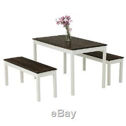 3 PCS Dining Table Set with 2 Benches Pine Wood Kitchen Dining Room Furniture