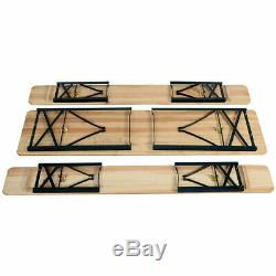 3 PCS Outdoor Wood Picnic Table Beer Bench Dining Set Folding Wooden Top Outdoor
