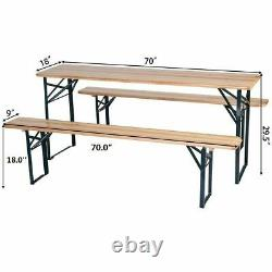 3 PCS Outdoor Wood Picnic Table Beer Bench Dining Set Folding Wooden Top Patio