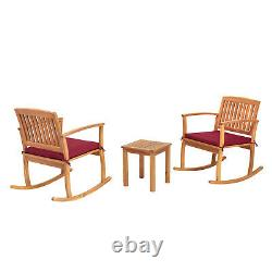 3 PCs Patio Furniture Set Rocking Chair With Coffee Table Cushioned Acacia Wood