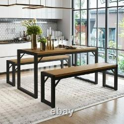 3 Piece 48in Dining Table Set with Two 47in Benches Kitchen Table Set