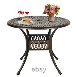 3 Piece Cast Aluminum Bistro Set Outdoor Table Set with 2 Arm Chairs and 1 Table