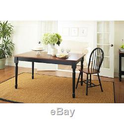 3 Piece Dinette Table Set Wooden 2 Dining Benches Country Farm Black Oak