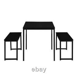 3-Piece Dining Set Kitchen Wood Table Set With 2 Bench Chairs WithMetal Frame Black