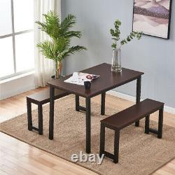 3 Piece Dining Table Set With 2 Benches Modern Wood Home Kitchen Furniture NEW