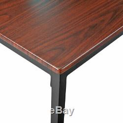 3 Piece Dining Table Set Wooden Table and Benches Chair Metal Kitchen Furniture