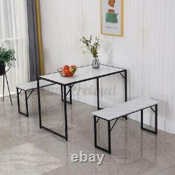 3 Piece Dining Table Set Wooden Table with2 Benches Furniture For Kitchen Room