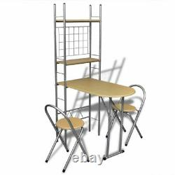 3 Piece Folding Breakfast Bar Dining Table and 2 Chairs Set with Storage Rack