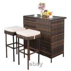 3 Piece Garden Lawn Furniture Patio Bar Set Wicker Outdoor Table and 2 Stools US