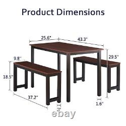 3 Piece Modern Wood Dining Table Set with 2 Benches Chairs Kitchen Furniture Metal