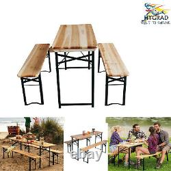3 Piece Picnic Table And Bench Set Folding Beer Bench Outside Table and Bench UK