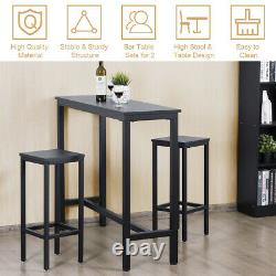 3 Pieces Bar Table Set Counter Height Breakfast Pub Dining Table withStools Black