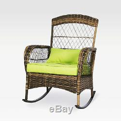 3 Pieces Patio Conversation Set with 2 Rattan Wicker Rocking Chairs&Glass Table