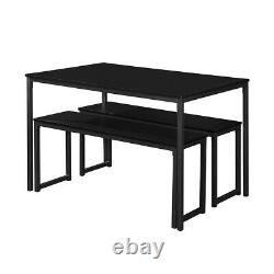 3 Pieces kitchen Set Dinning Table with2 Benches Wood Table Top and Metal Frame