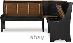 3 pc Black Wooden Top Breakfast Nook Dining Set Corner Booth Bench Kitchen Table