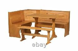 3 pc Natural Wooden Breakfast Nook Dining Set Corner Booth Bench Kitchen Table