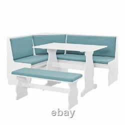 3 pc White Blue Top Breakfast Nook Dining Set Corner Booth Bench Kitchen Table
