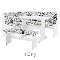 3 pc White Coffee Top Breakfast Nook Dining Set Corner Booth Bench Kitchen Table