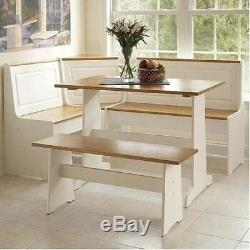 3 pc White Wood Top Breakfast Nook Dining Set Corner Booth Bench Kitchen Table