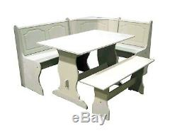 3 pc White Wooden Breakfast Nook Dining Set Corner Booth Bench Kitchen Table
