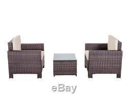 3PC Table & Bench Set Patio Sofa Set Outdoor Brown Rattan Wicker Chair