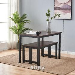 3PCS Dining Room Table Set with 2 Bench Kitchen Modern Wood Furniture Small Space