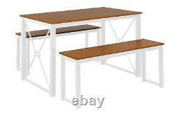 3PCS Dining Set Rectangle Dinning Table with2 Wood + Metal Benches Kitchen Table
