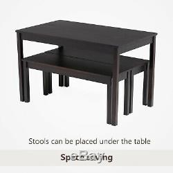 3PCS Dining Table Set with 2 Benches Kitchen Dining Room Furniture Pine Wood Black