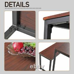 3PCS Dining Table Set with 2 Benches Kitchen Home Furniture Brown Wood Countertop