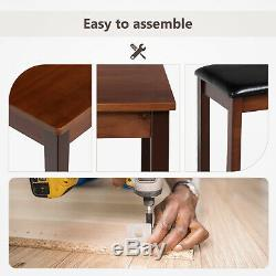 3PCS Dining Table Set with 2 Leather Benches Pine Wood Kitchen Furniture Brown