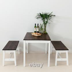 3PCS Dining Table Set with2 Benches Dining Room Pine Wood Kitchen Furniture Coffee