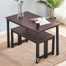 3PCS Modern Dining Table Set With 2 Wood Bench Chairs Home Kitchen Furniture