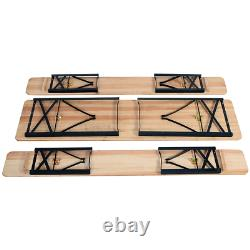 3Pcs Outdoor Wooden Picnic Table Beer Bench Dining Set Folding Top Patio Durable