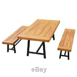 3pc 71 Outdoor Picnic Table and Bench Set Picnic Desk Chiars Patio Furniture