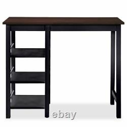 3pc Bar Set kitchen Table Stools Chair Shelves Wood Small Room Dining Furniture