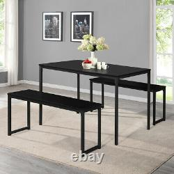 3pcs Dining Table Set 2 Benches Set Wood Steel Restraunt Dining Table Set Black