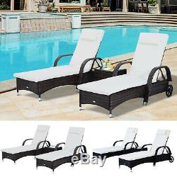 3pcs Wheeled Patio Rattan Lounge Set Adjustable Reclining Chaise withSide Table