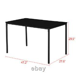 3x Dining Kitchen Set Table with2 Bench Benches & Wood Table Top with Metal Frame