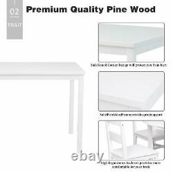 4 PCS Dining Table Set Solid Wood Table with 2 Chairs & Bench for Kitchen White