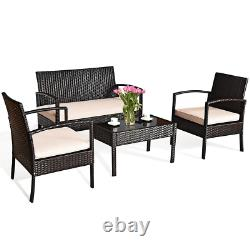 4 Pcs Ratten Outdoor Wicker Sofa Set Patio Furniture Clearance Table And Chairs